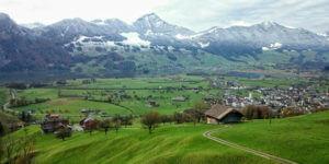 overlooking a village
