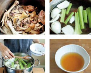 Four images: Chicken bones, celery and onion, everything in a pot, broth