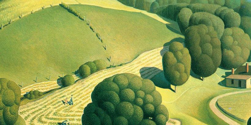 Illustration of grassy hills and farmland