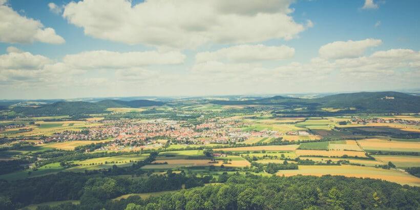 air shot of farming village