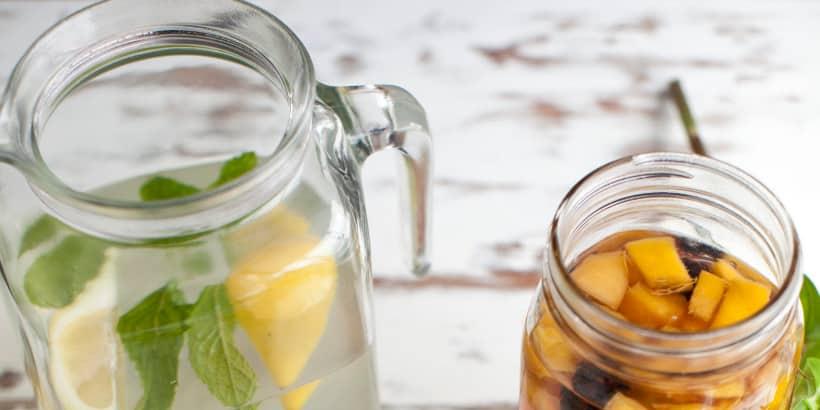 fruit in jars for summer drinks