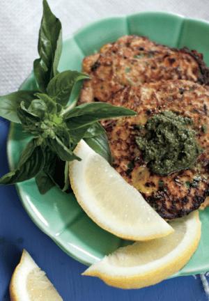 salmon cakes with lemon pesto