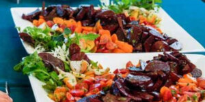 rainbow beet and carrot salad with garden herbs